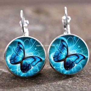זוג עגילים מוכסף פרפרים בגוון כחול תכלת