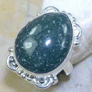 טבעת משובצת ג'ספר ירוק כסף 925 מידה : 6.5