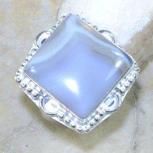 טבעת בשיבוץ אגט בוטוצ'ואנה לבן כסף 925 מידה: 7.5