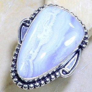 טבעת בשיבוץ בלו לייס אגט כסף 925 מידה: 8.25