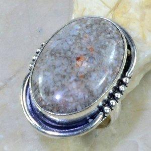 טבעת אבן ג'ספר אוושן אפרפר כסף 925 מידה: 9