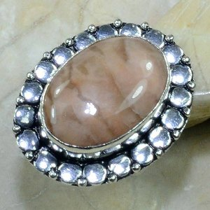 טבעת בשיבוץ ג'ספר גווני חום כסף 925 מידה: 7.75