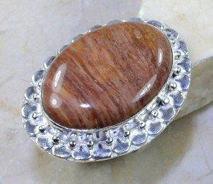 טבעת בשיבוץ ג'ספר גווני חום כסף 925 מידה: 8.75
