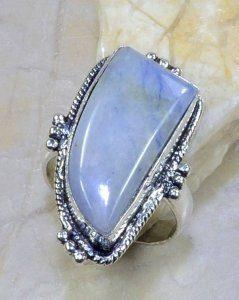 טבעת בשיבוץ אבן ג'ספר גווני תכלת כסף 925 מידה: 8