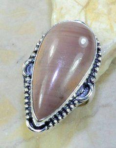 טבעת בשיבוץ אבן ג'ספר חום אפרפר כסף 925 מידה: 7