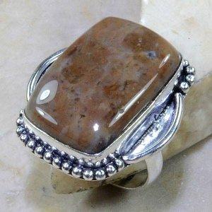 טבעת בשיבוץ ג'ספר חום מנומר כסף 925 מידה: 8.25