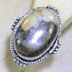טבעת בשיבוץ ג'ספר חום שמנת כסף 925 מידה: 8.5