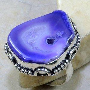טבעת בשיבוץ אבן דרוזי סגול כסף 925 מידה: 9