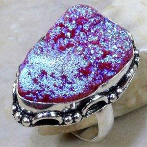 טבעת בשיבוץ טיטניום אגט ורוד סגול כסף 925 מידה: 7.75