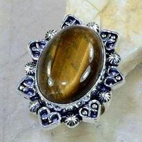 טבעת בשיבוץ אבן טייגר אי זהב כסף 925 מידה: 8