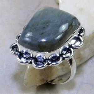 טבעת בשיבוץ לברדורייט כסף 925 מידה: 10.5
