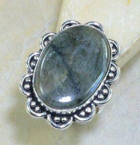 טבעת בשיבוץ לברדורייט כסף 925 מידה: 10