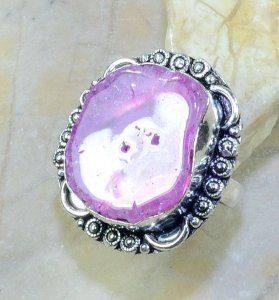 טבעת בשיבוץ אבן סולר קוורץ כסף 925 מידה: 10