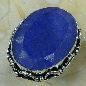 טבעת בשיבוץ אבן ספיר כסף 925 מידה: 7.25