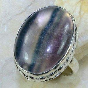 טבעת בשיבוץ אבן פלואורייט כסף 925 מידה: 7.25