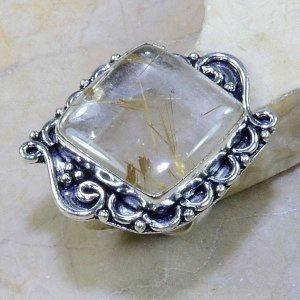 טבעת בשיבוץ רוטילייד קוורץ כסף 925 מידה: 7.5