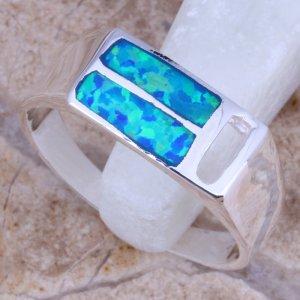 טבעת משובצת אופל 2 שורות כסף 925
