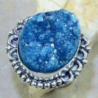 טבעת בשיבוץ דרוזי כחול כסף 925 מידה 9.5