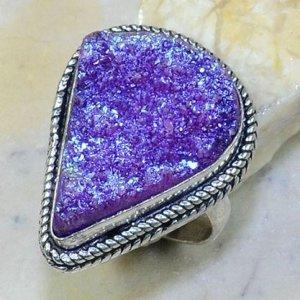 טבעת בשיבוץ טיטניום סגול כחלחל כסף 925 מידה: 8.75