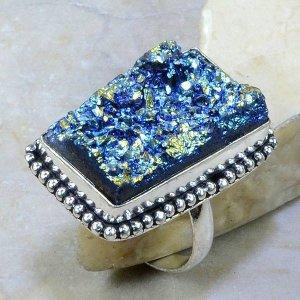 טבעת בשיבוץ טיטניום כחול כסף 925 מידה: 10.25