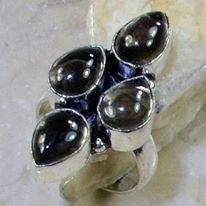 טבעת בשיבוץ 4 אבני סמוקי קוורץ כסף 925 מידה: 7.5