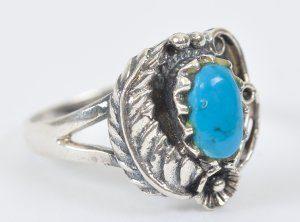 טבעת בשיבוץ אבן טורקיז כסף 925