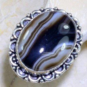 טבעת משובצת אגט בוטוצ'ואנה פסים כסף 925 מידה: 10.5