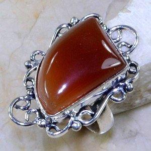 טבעת משובצת אגט כתום כסף 925 מידה: 6.75