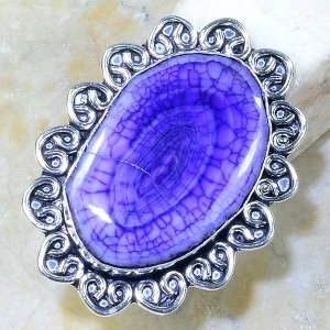 טבעת משובצת אגט סגול כסף 925 מידה: 9