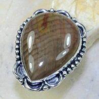 טבעת משובצת ג'ספר גווני חום כסף 925 מידה: 8.25