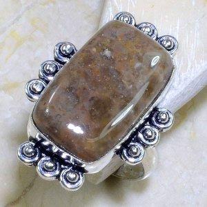 טבעת משובצת ג'ספר גווני חום כסף 925 מידה: 9.5