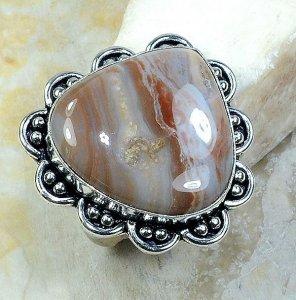 טבעת משובצת ג'ספר גווני חום כסף 925 מידה: 10