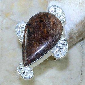 טבעת משובצת ג'ספר חום כהה כסף 925 מידה: 6
