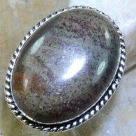 טבעת משובצת ג'ספר חום כסף 925 מידה: 7