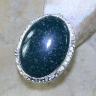 טבעת משובצת ג'ספר ירוק כסף 925 מידה: 5