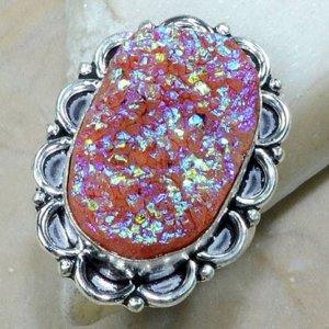 טבעת משובצת אבן טיטניום חום אדמדם כסף 925 מידה: 10