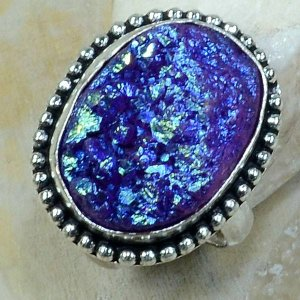 טבעת משובצת אבן טיטניום כחול כסף 925 מידה: 8.75