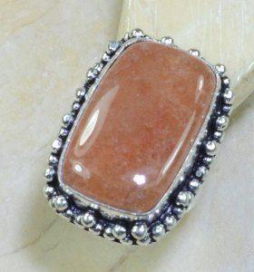 טבעת משובצת קלציט כתום כסף 925 מידה: 7