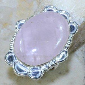 טבעת משובצת רוז קוורץ כסף 925 מידה: 6