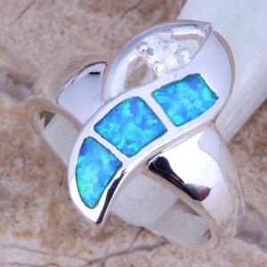 טבעת משובצת אופל וזירקון כסף 925