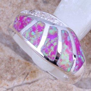 טבעת משובצת אופל ורוד כסף 925