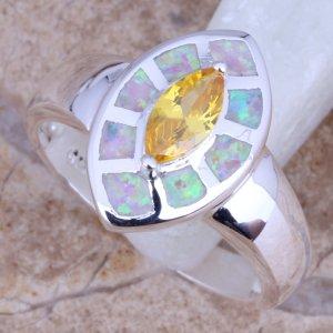 טבעת משובצת אופל חלבי וסיטרין כסף 925