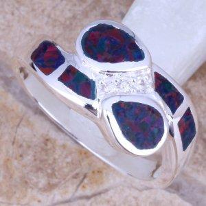 טבעת משובצת אופל כהה כסף 925