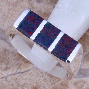 טבעת משובצת אופל כחול אדום כסף 925