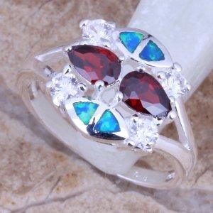 טבעת משובצת גרנט ואופל כסף 925