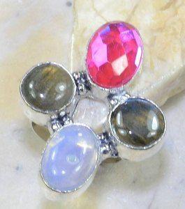 טבעת משובצת לברדורייט מונסטון וטופז ריינבאו כסף 925 מידה: 8.75