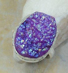 טבעת משובצת אגט טיטניום כסף 925 מידה: 10