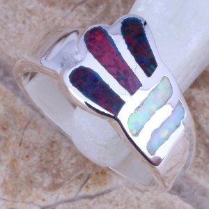 טבעת משובצת אופל חלבי ואופל כחול כסף 925