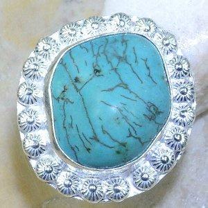 טבעת משובצת באבן טורקיז גלם כסף 925 מידה: 6
