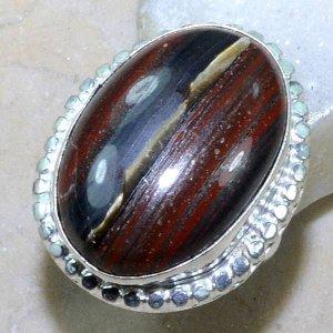 טבעת משובצת באבן טייגר אירון כסף 925 מידה: 5.5